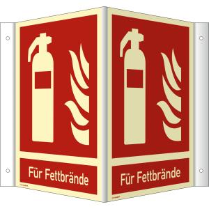 Nasen-/Winkelschild Feuerlöscher - Für Fettbrände (ISO 7010)