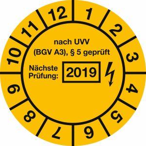 Prüfplaketten - nach UVV BGV A3, § 5 geprüft, Jahr 2019