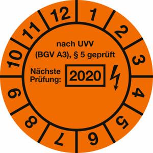 Prüfplaketten - nach UVV BGV A3, § 5 geprüft, Jahr 2020