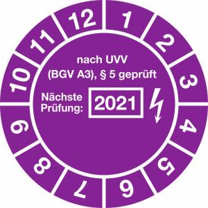 Prüfplaketten - nach UVV BGV A3, § 5 geprüft, Jahr 2021