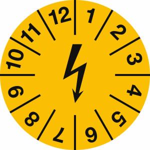 Prüfplaketten zur Kennzeichnung von elektrischen Einrichtungen, gelb