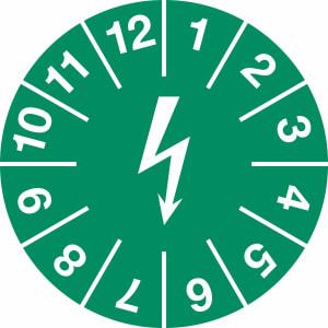 Prüfplaketten zur Kennzeichnung von elektrischen Einrichtungen, grün