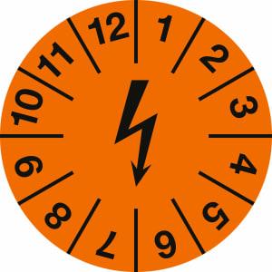 Prüfplaketten zur Kennzeichnung von elektrischen Einrichtungen, orange