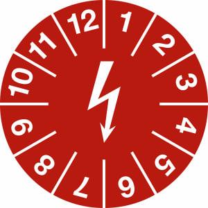 Prüfplaketten zur Kennzeichnung von elektrischen Einrichtungen, rot