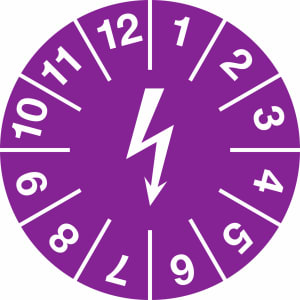 Prüfplaketten zur Kennzeichnung von elektrischen Einrichtungen, violett