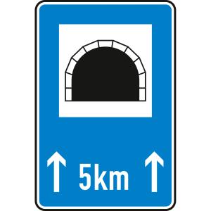 Tunnel, mit Längenangabe in km - Verkehrsschild VZ 327-51