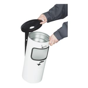 Abfalleimer inkl. Ascher RONDO KOMBI zur Wandmontage - Inhalt 10 Liter
