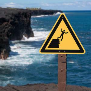 Warnung vor instabiler Klippenkante nach ISO 20712-1 (WSW 010)