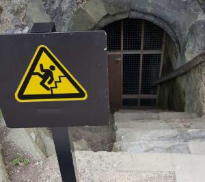 Warnung vor Treppe