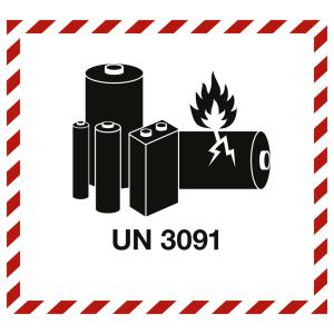 Gefahrzettel LITHIUM METAL BATTERY mit Eindruck UN 3091