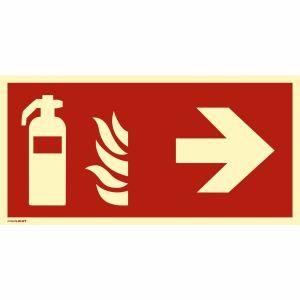 Kombischild Feuerlöscher rechts nach ISO 7010
