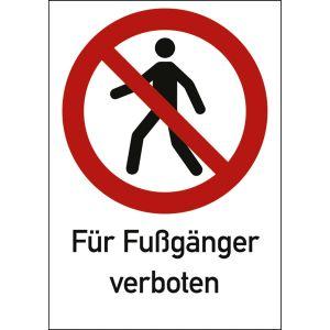 Kombischild Für Fußgänger verboten (ISO 7010)