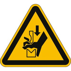 Warnung vor Quetschgefahr der Hand zwischen den Werkzeugen einer Presse nach ISO 7010 (W 030)