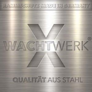 Eckschutzbügel WACHTWERK X® aus Stahl mit Unterfahrschutz - Stärke S  Ø 76 mm Logo