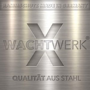 Rammschutzplanke Typ B als Regalanfahrschutz WACHTWERK X® FLEX aus Stahl LOGO