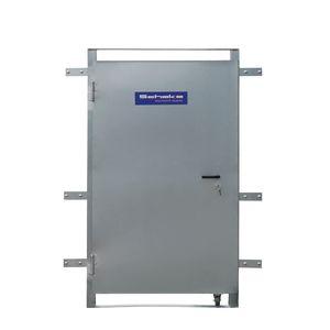 Stahltür für Bauzäune, mit Laufrolle