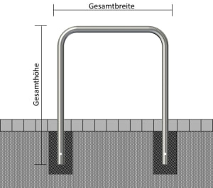 Anlehnbügel aus Edelstahl, wahlweise mit Querholm, Ø 48 mm