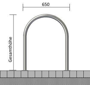 Rundbügel / Anlehnbügel aus Edelstahl, wahlweise mit Querholm, Ø 48 mm