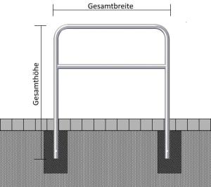 Stahl-Schutzbügel mit Querholm, Ø 48 mm