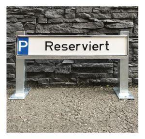 Stahlständer für Parkplatzbeschilderung mit 2 Stützpfosten