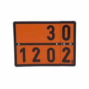 Warntafel mit Wechselziffern für Dieselkraftstoff, leichtes Heizöl und Benzin