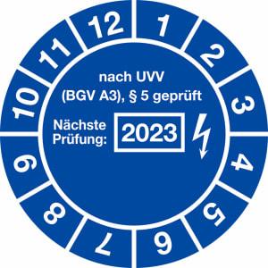 Prüfplaketten - nach UVV BGV A3, § 5 geprüft - Nächste Prüfung