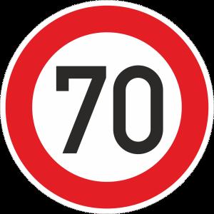 Zulässige Höchstgeschwindigkeit 70 km/h (Verkehrsschild Nr. 274-70)