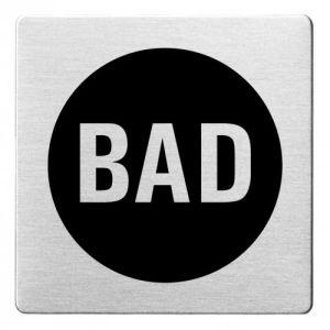 Textschild - Bad (ecken abgerundet/schwarz)