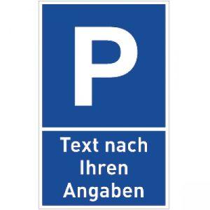 Parkplatzschild P mit Text nach Ihren Angaben