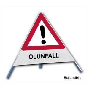 Faltsignal - Gefahrenstelle mit Text: ÖLUNFALL