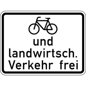 Radfahrer und Landwirtschaft. Verkehr frei VZ 2211