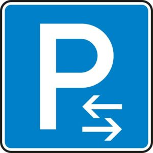 VZ 315-30 - Parken Mitte Parkplatzschild hier