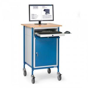 Rollpult mit waagerechter Schreibfläche, 2 verstellbaren Böden und Flügeltürschrank mit Tastaturschublade  - Tragkraft 150 kg