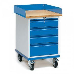 Rollschrank mit Arbeitsplatte und 4 Schubladen  - Tragkraft 150 kg