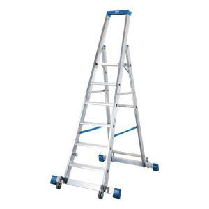 Fahrbare Stufen-Stehleiter STABILO mit Traverse