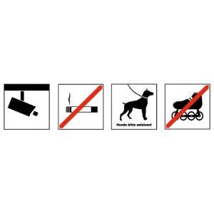 Verbotszeichen mit 4 Symbolen