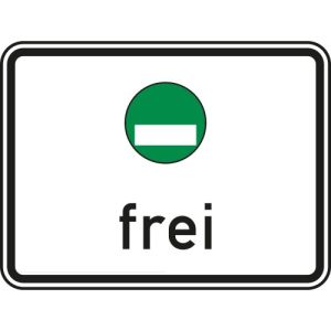 Grüne Plakette frei Zusatzschild VZ 1031-52