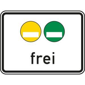 Gelbe und grüne Plakette frei Zusatzschild VZ 1031-51
