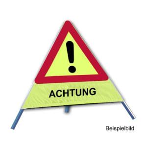Faltsignal - Gefahrenstelle mit Text: ACHTUNG