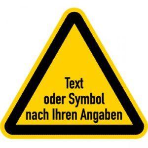 Warnzeichen mit Text oder Standardsymbol nach Ihren Angaben