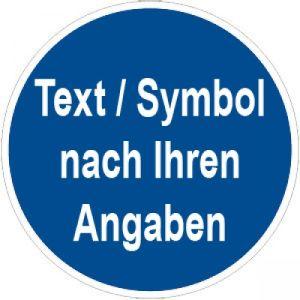 Gebotszeichen mit Text und Standardsymbol nach Ihren Angaben