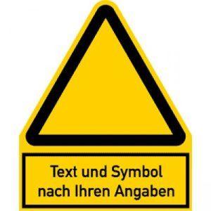 Warnzeichen mit Symbol und Text nach Ihren Angaben