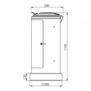 Rastplatz-Wertstoffsammler, abschließbar, mit Stahldeckel - Inhalt 120 Liter