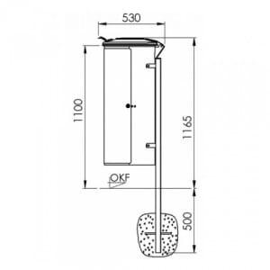 Rastplatz-Wertstoffsammler Mod. 110, abschließbar, mit Stahldeckel inkl. Pfosten - Inhalt 110 Liter