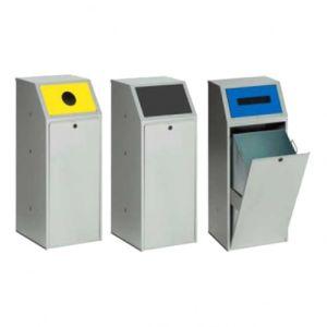 Wertstoffsammler, abschließbar, mit selbstschließender / fest montierter, gestanzter Einwurfklappe - Inhalt 70 Liter