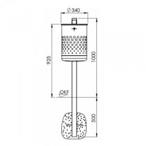 Rund-Abfallbehälter mit Deckelscheibe und Pfosten - Inhalt 35 / 50 Liter