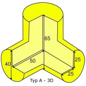 Eckschutzwinkel dreidimensional für Profil A