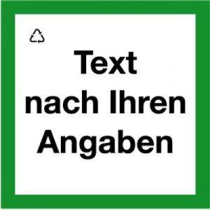Wertstoffkennzeichnung mit Text nach Ihren Angaben