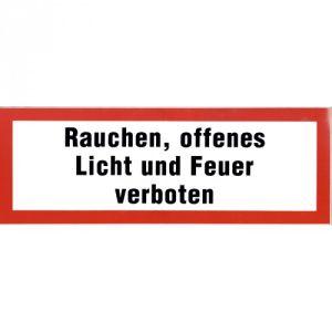 Rauchen, offenes Licht und Feuer verboten