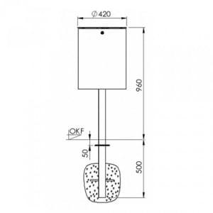 Schwerer Rund-Abfallbehälter mit Deckelscheibe und Pfosten - Inhalt 50 Liter